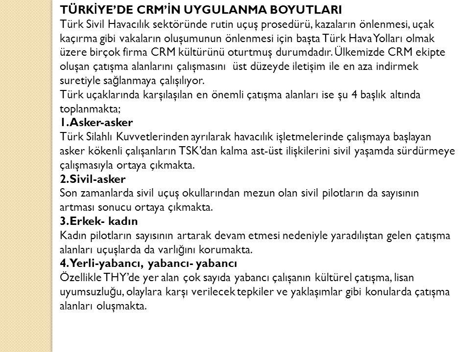 TÜRKİYE'DE CRM'İN UYGULANMA BOYUTLARI