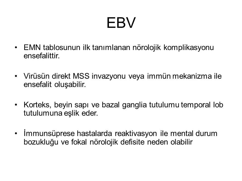 EBV EMN tablosunun ilk tanımlanan nörolojik komplikasyonu ensefalittir. Virüsün direkt MSS invazyonu veya immün mekanizma ile ensefalit oluşabilir.