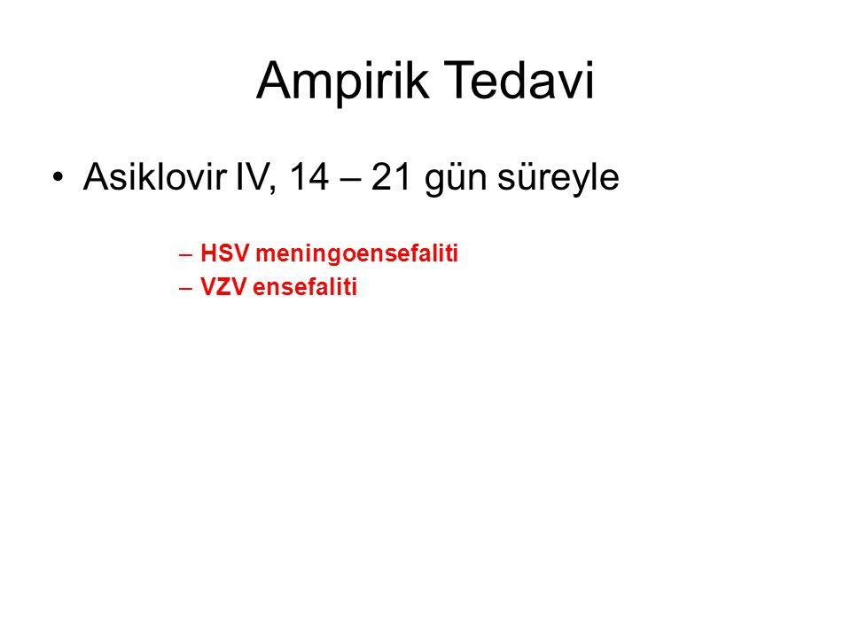 Ampirik Tedavi Asiklovir IV, 14 – 21 gün süreyle HSV meningoensefaliti