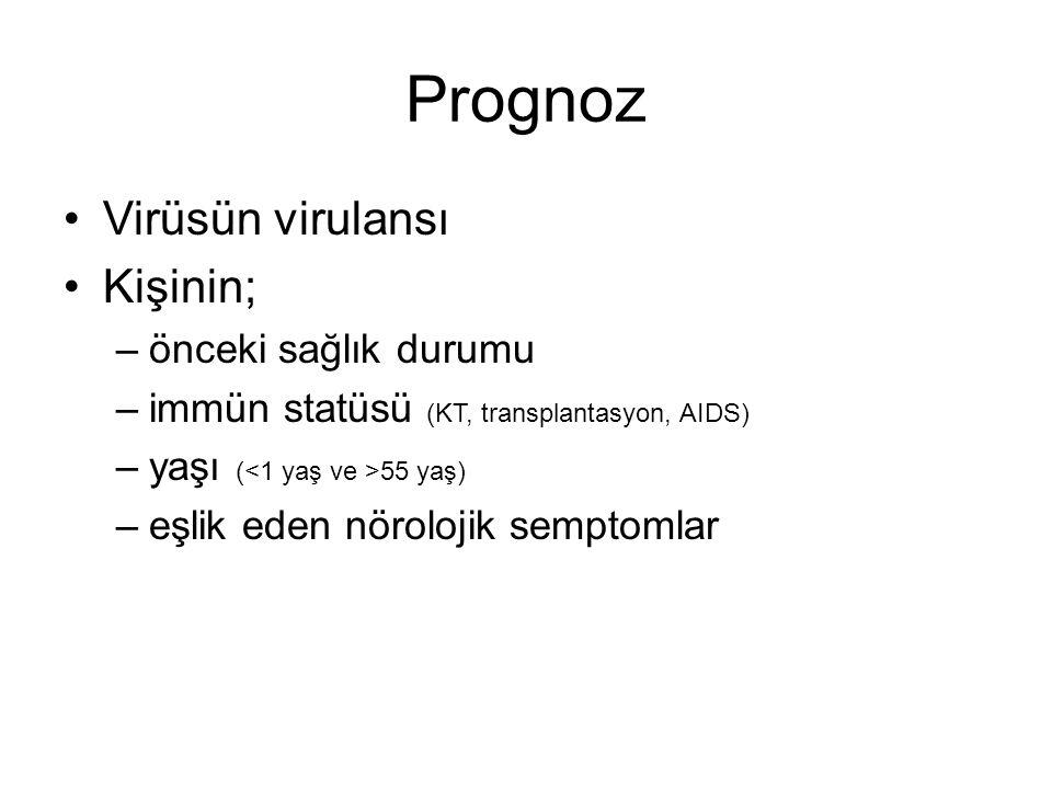 Prognoz Virüsün virulansı Kişinin; önceki sağlık durumu