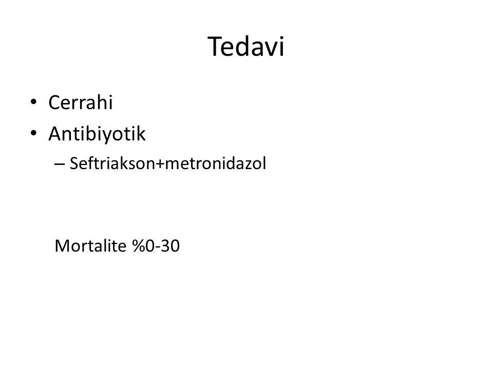 Tedavi Cerrahi Antibiyotik Seftriakson+metronidazol Mortalite %0-30