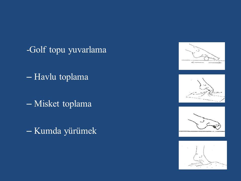 -Golf topu yuvarlama Havlu toplama Misket toplama Kumda yürümek