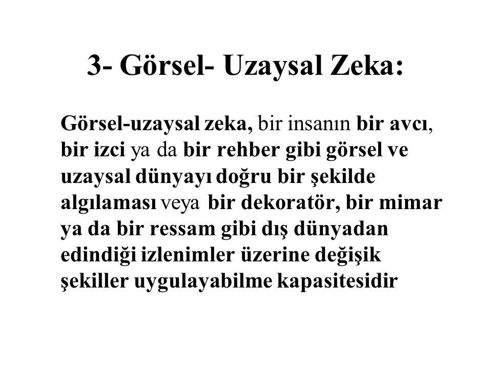 3- Görsel- Uzaysal Zeka: