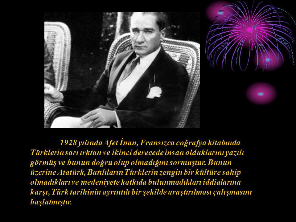 1928 yılında Afet İnan, Fransızca coğrafya kitabında Türklerin sarı ırktan ve ikinci derecede insan olduklarını yazılı görmüş ve bunun doğru olup olmadığını sormuştur.