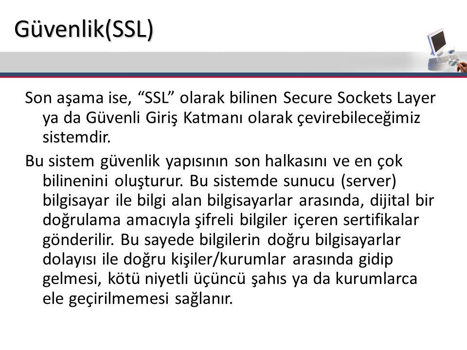 Güvenlik(SSL) Son aşama ise, SSL olarak bilinen Secure Sockets Layer ya da Güvenli Giriş Katmanı olarak çevirebileceğimiz sistemdir.