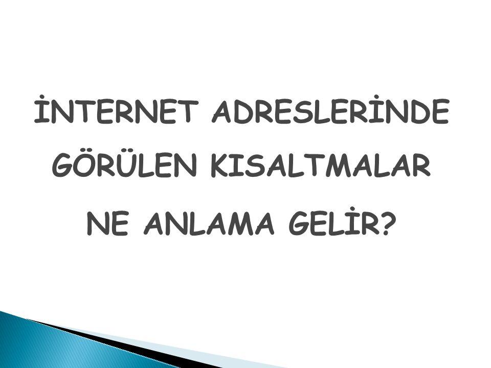 İNTERNET ADRESLERİNDE