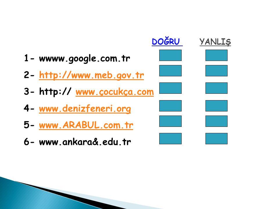 DOĞRU YANLIŞ 1- wwww.google.com.tr. 2- http://www.meb.gov.tr. 3- http:// www.çocukça.com. 4- www.denizfeneri.org.