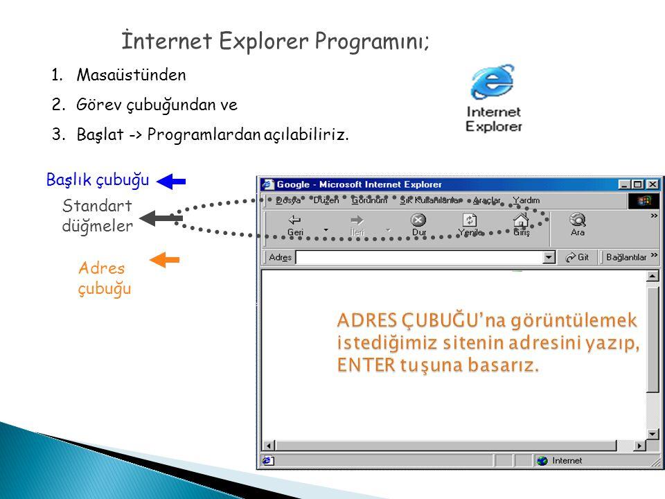 İnternet Explorer Programını;