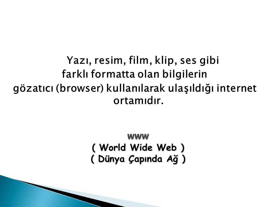 Yazı, resim, film, klip, ses gibi farklı formatta olan bilgilerin gözatıcı (browser) kullanılarak ulaşıldığı internet ortamıdır.
