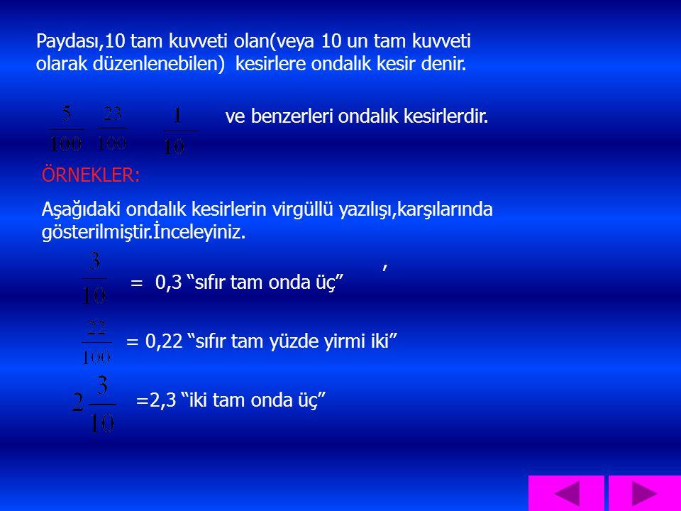 Paydası,10 tam kuvveti olan(veya 10 un tam kuvveti olarak düzenlenebilen) kesirlere ondalık kesir denir.