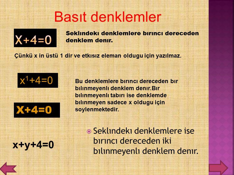 Basıt denklemler X+4=0 x1+4=0 X+4=0 x+y+4=0