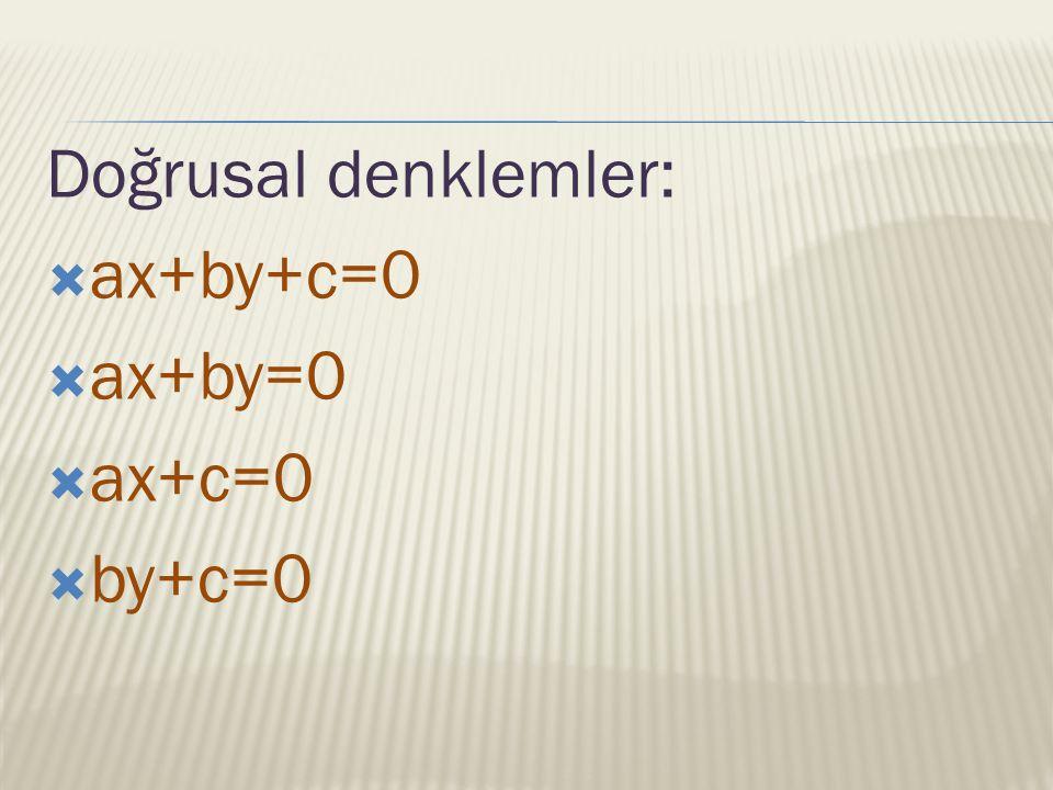 Doğrusal denklemler: ax+by+c=0 ax+by=0 ax+c=0 by+c=0