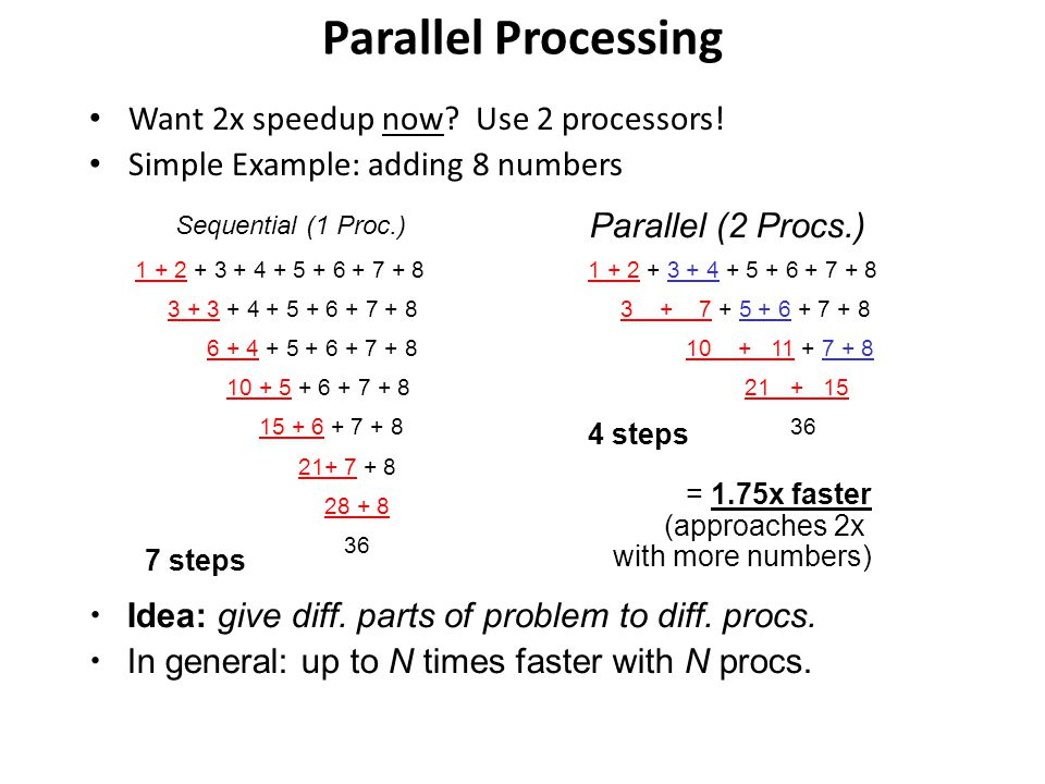 Parallel Processing Want 2x speedup now Use 2 processors!