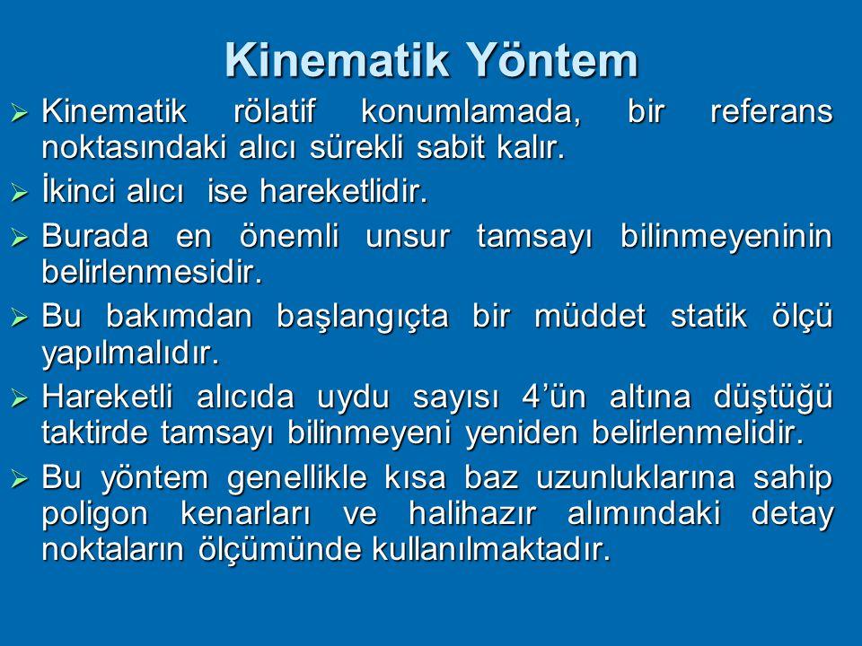 Kinematik Yöntem Kinematik rölatif konumlamada, bir referans noktasındaki alıcı sürekli sabit kalır.