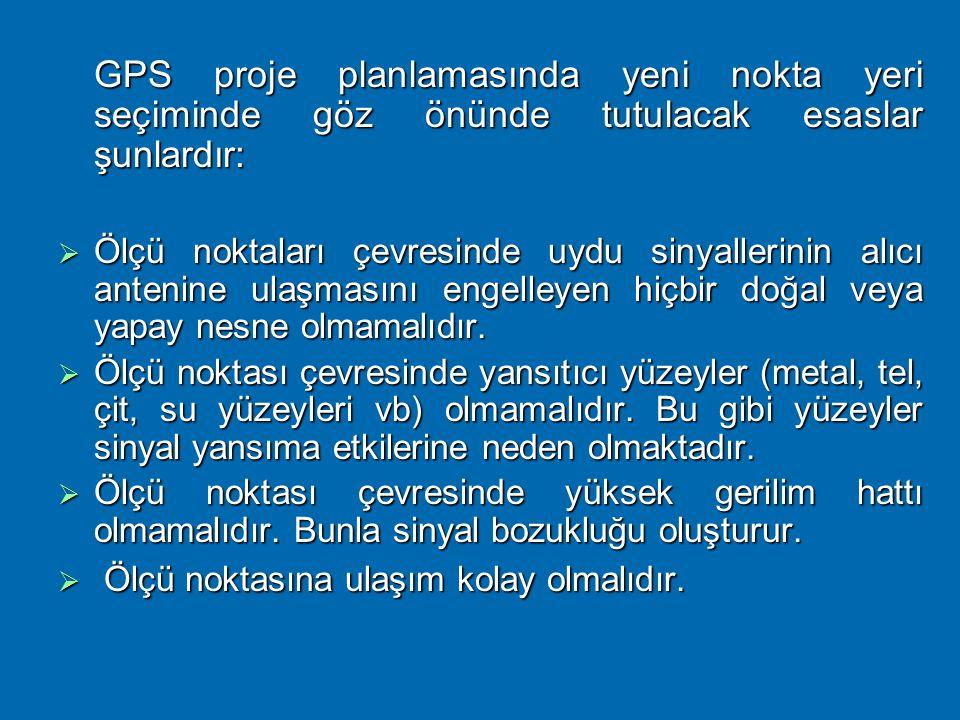 GPS proje planlamasında yeni nokta yeri seçiminde göz önünde tutulacak esaslar şunlardır: