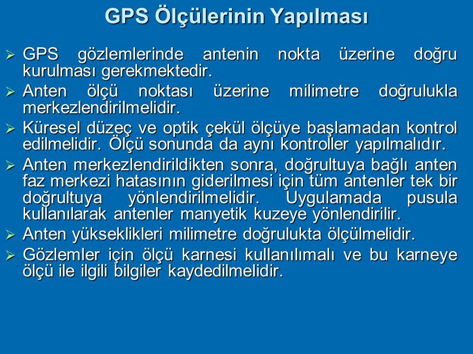 GPS Ölçülerinin Yapılması