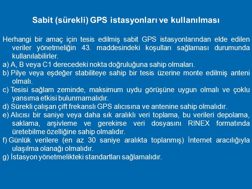 Sabit (sürekli) GPS istasyonları ve kullanılması