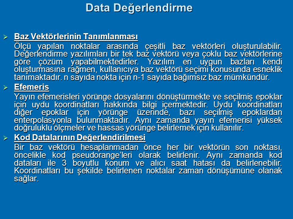 Data Değerlendirme Baz Vektörlerinin Tanımlanması