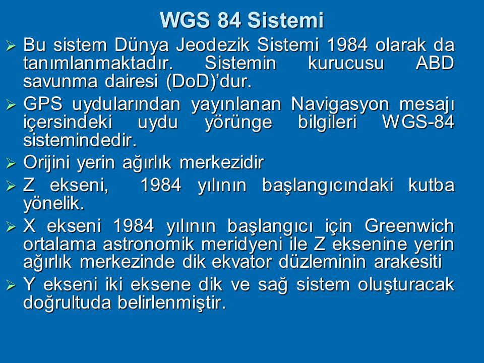 WGS 84 Sistemi Bu sistem Dünya Jeodezik Sistemi 1984 olarak da tanımlanmaktadır. Sistemin kurucusu ABD savunma dairesi (DoD)'dur.