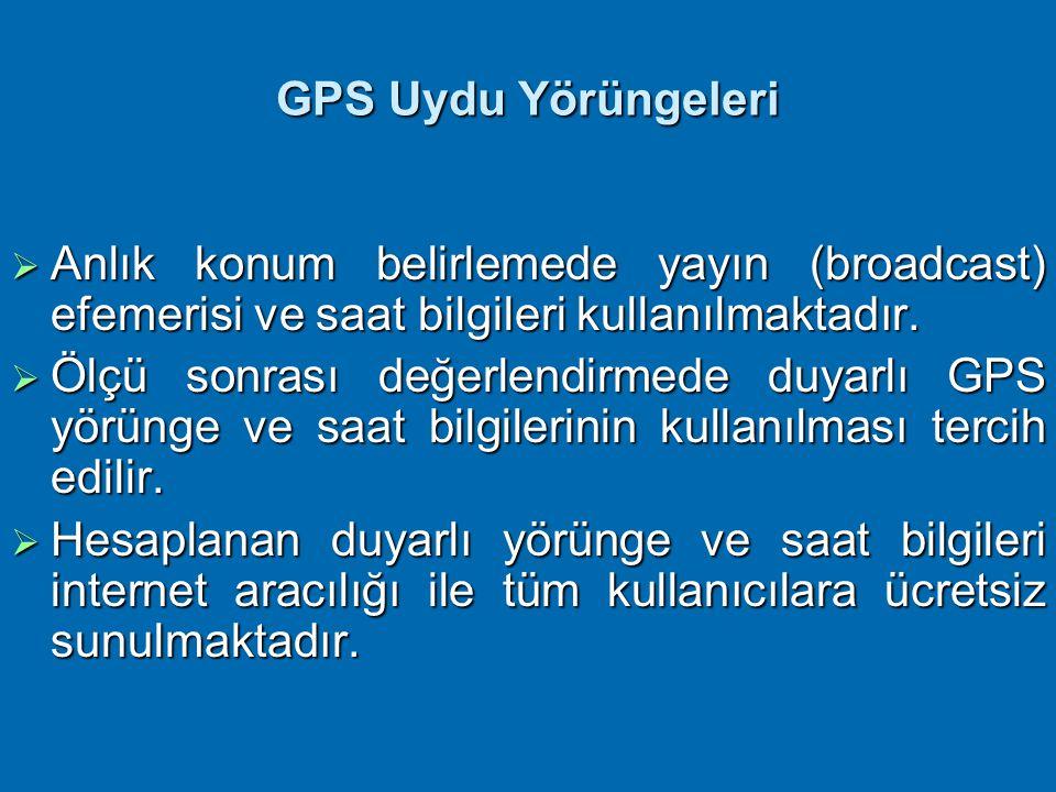 GPS Uydu Yörüngeleri Anlık konum belirlemede yayın (broadcast) efemerisi ve saat bilgileri kullanılmaktadır.