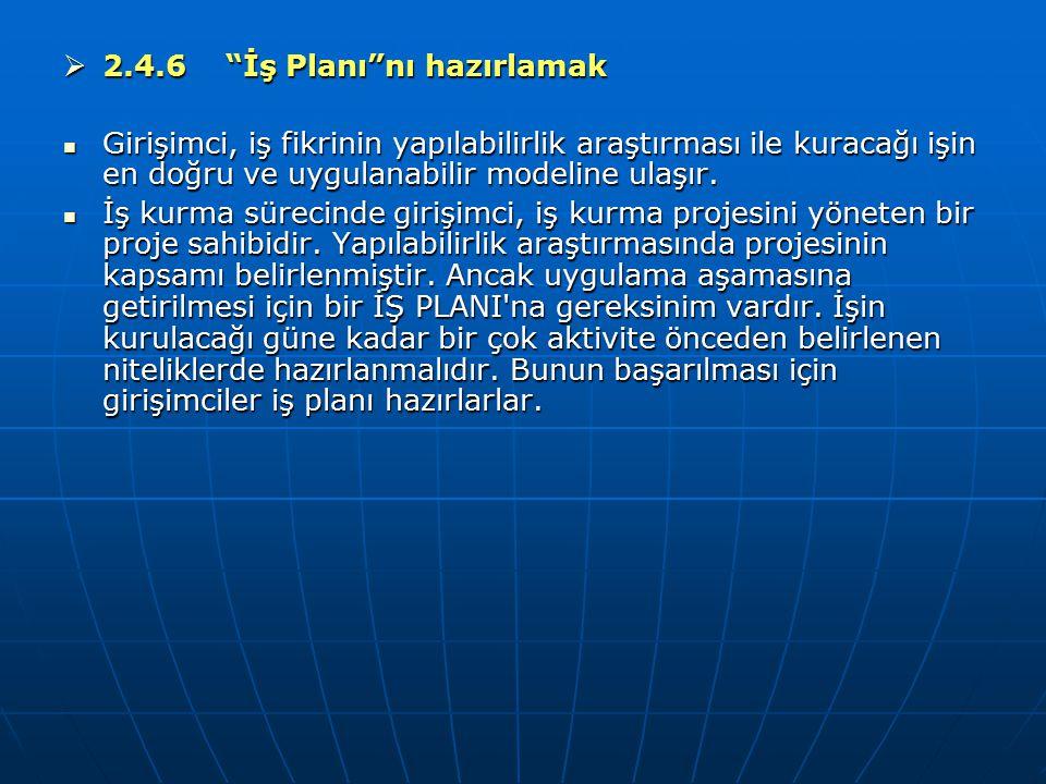 2.4.6 İş Planı nı hazırlamak