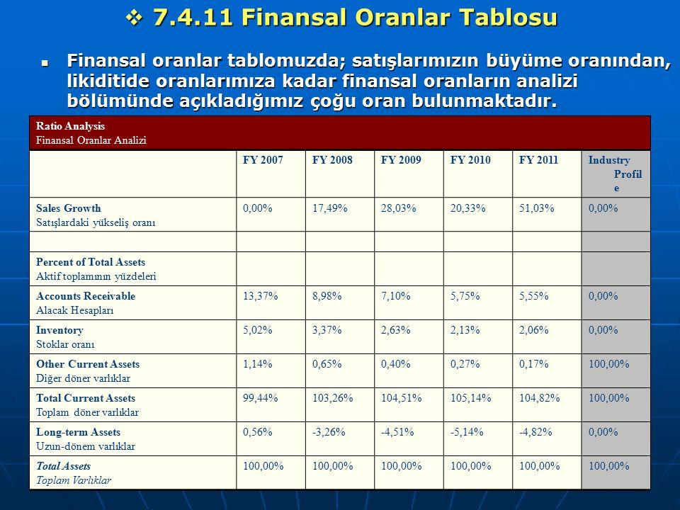 7.4.11 Finansal Oranlar Tablosu