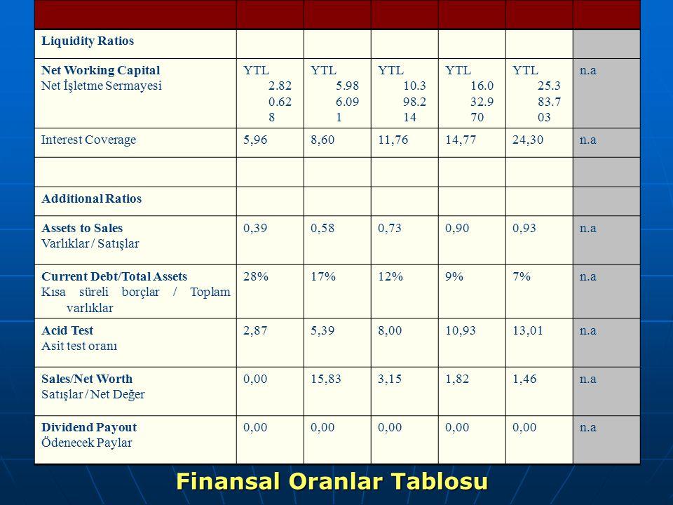 Finansal Oranlar Tablosu