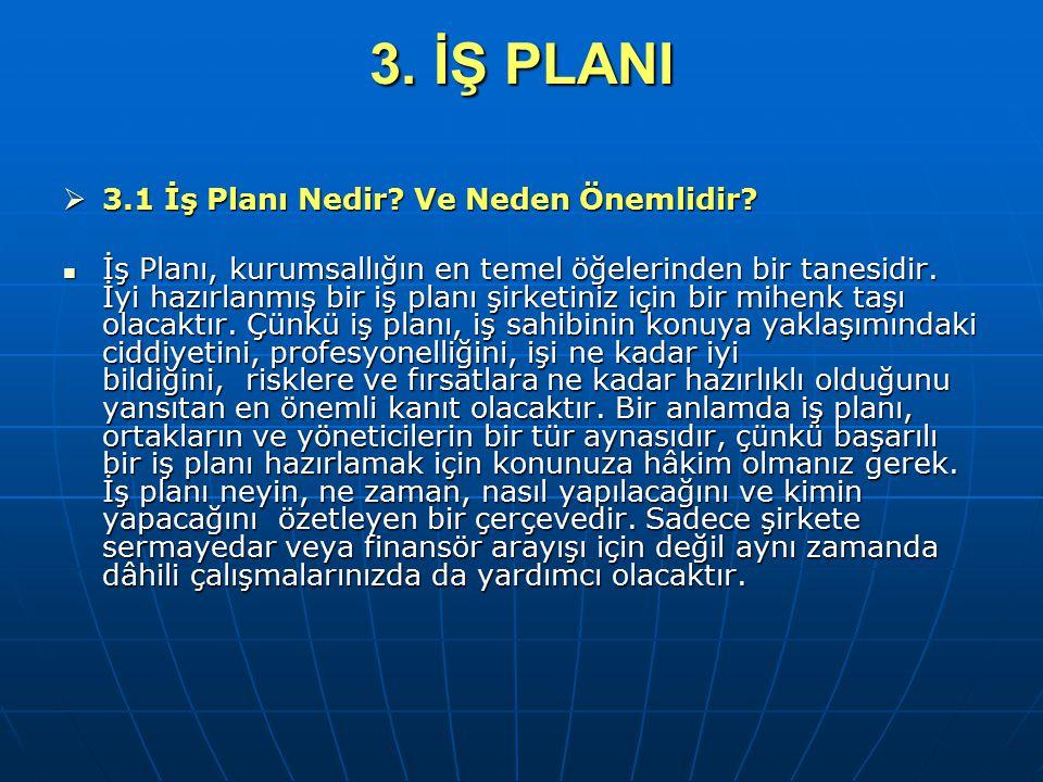 3. İŞ PLANI 3.1 İş Planı Nedir Ve Neden Önemlidir