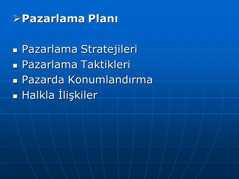 Pazarlama Planı Pazarlama Stratejileri Pazarlama Taktikleri Pazarda Konumlandırma Halkla İlişkiler