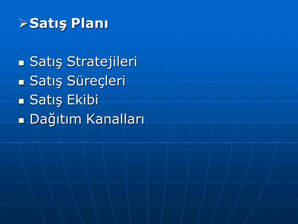 Satış Planı Satış Stratejileri Satış Süreçleri Satış Ekibi Dağıtım Kanalları