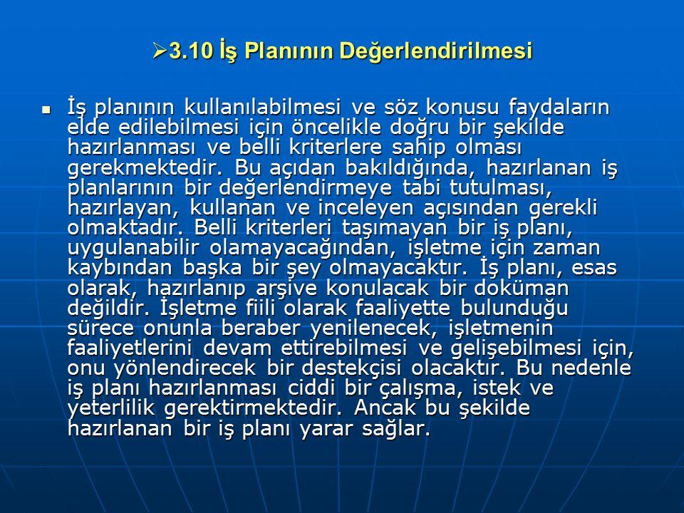 3.10 İş Planının Değerlendirilmesi