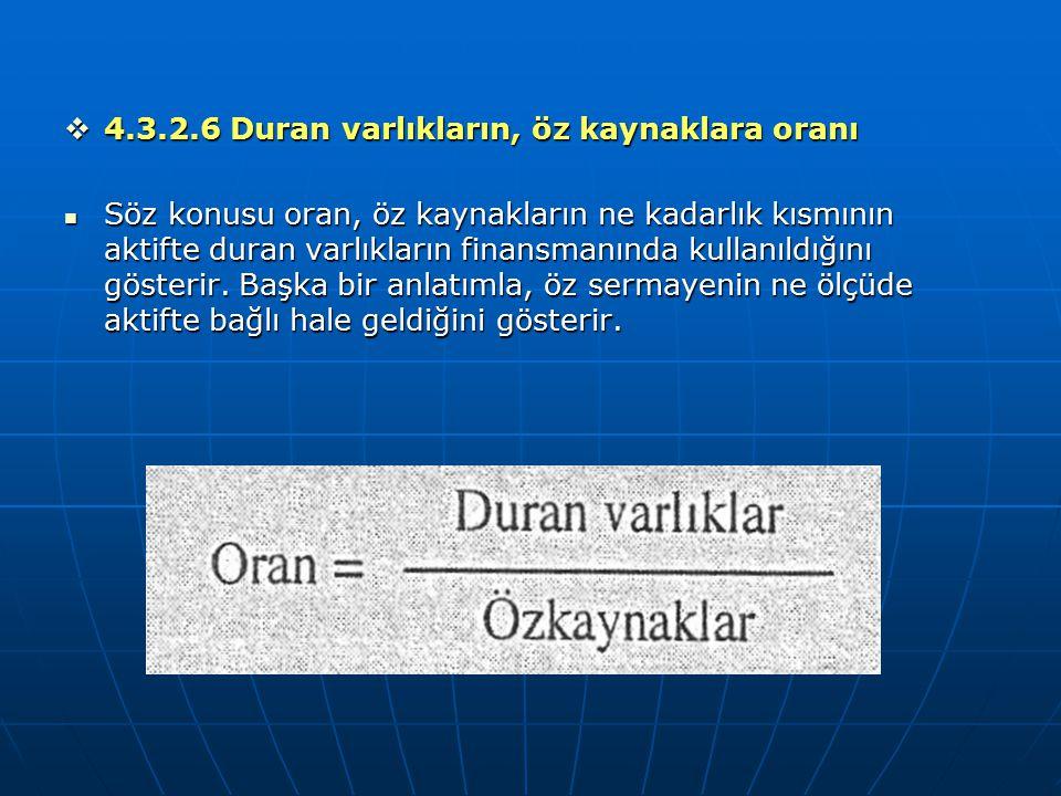 4.3.2.6 Duran varlıkların, öz kaynaklara oranı