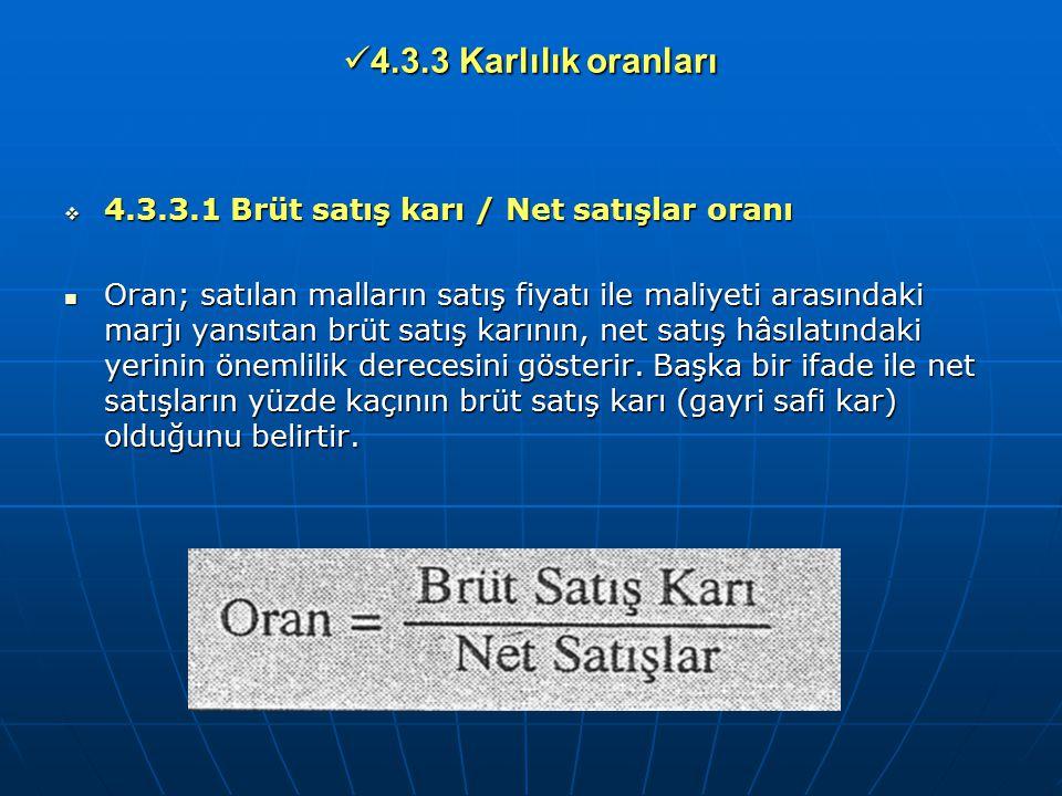 4.3.3 Karlılık oranları 4.3.3.1 Brüt satış karı / Net satışlar oranı