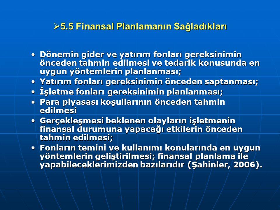 5.5 Finansal Planlamanın Sağladıkları