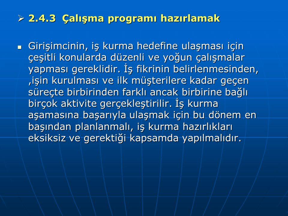 2.4.3 Çalışma programı hazırlamak
