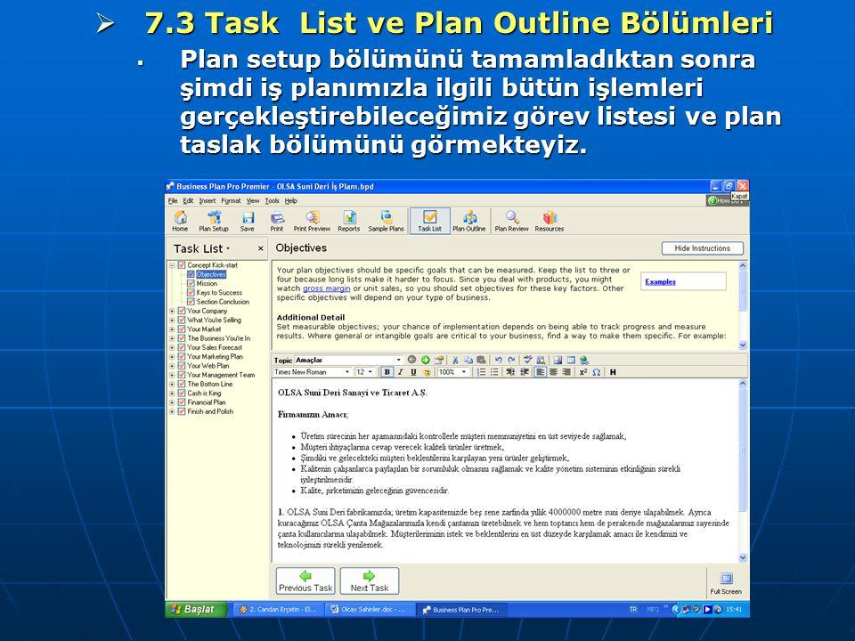 7.3 Task List ve Plan Outline Bölümleri