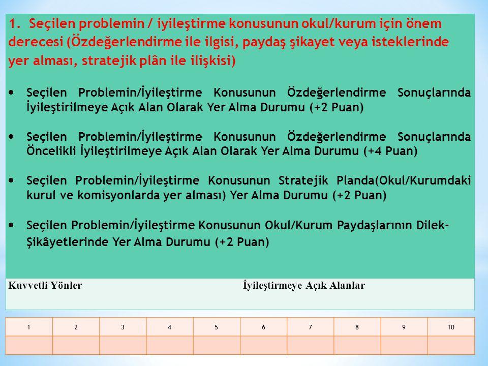 1. Seçilen problemin / iyileştirme konusunun okul/kurum için önem derecesi (Özdeğerlendirme ile ilgisi, paydaş şikayet veya isteklerinde yer alması, stratejik plân ile ilişkisi)