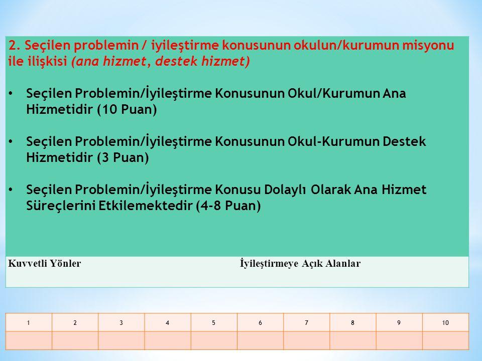 2. Seçilen problemin / iyileştirme konusunun okulun/kurumun misyonu ile ilişkisi (ana hizmet, destek hizmet)