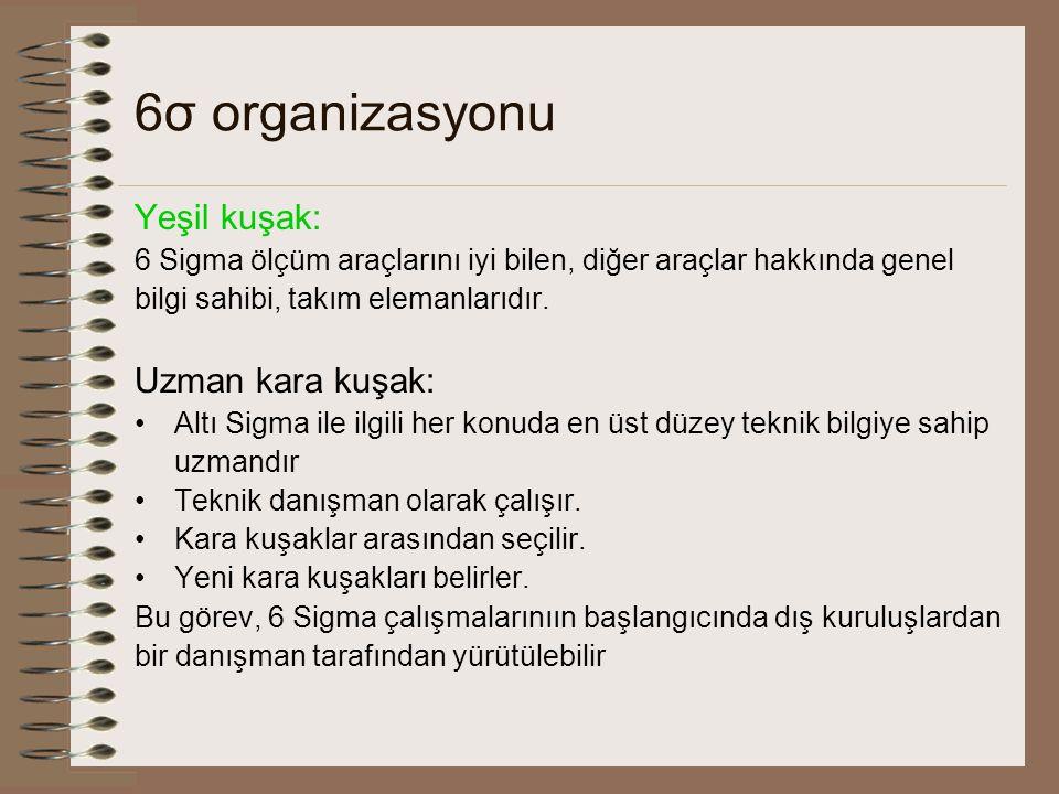 6σ organizasyonu Yeşil kuşak: Uzman kara kuşak: