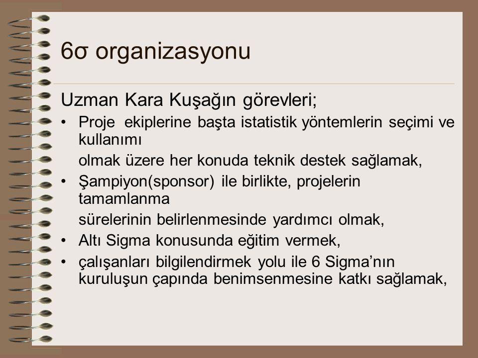 6σ organizasyonu Uzman Kara Kuşağın görevleri;