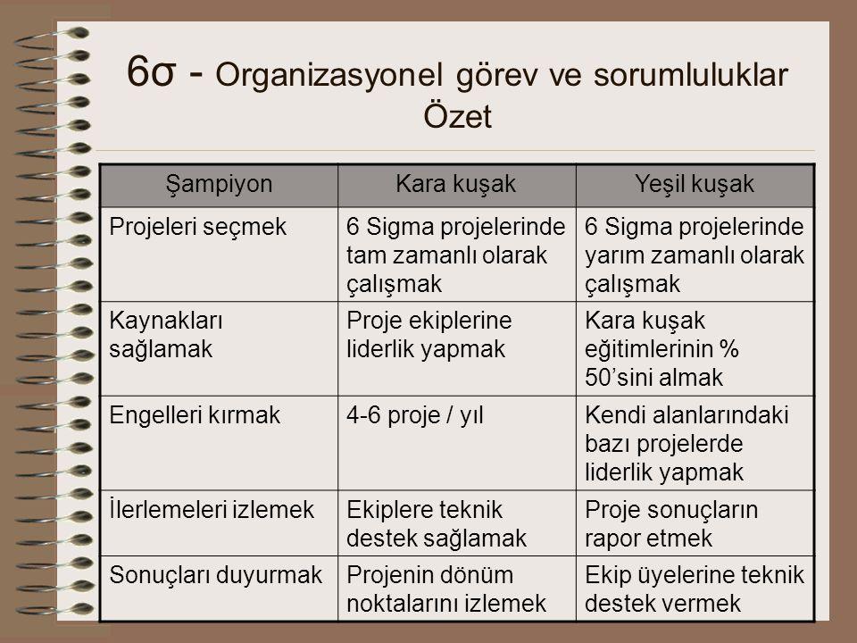 6σ - Organizasyonel görev ve sorumluluklar Özet