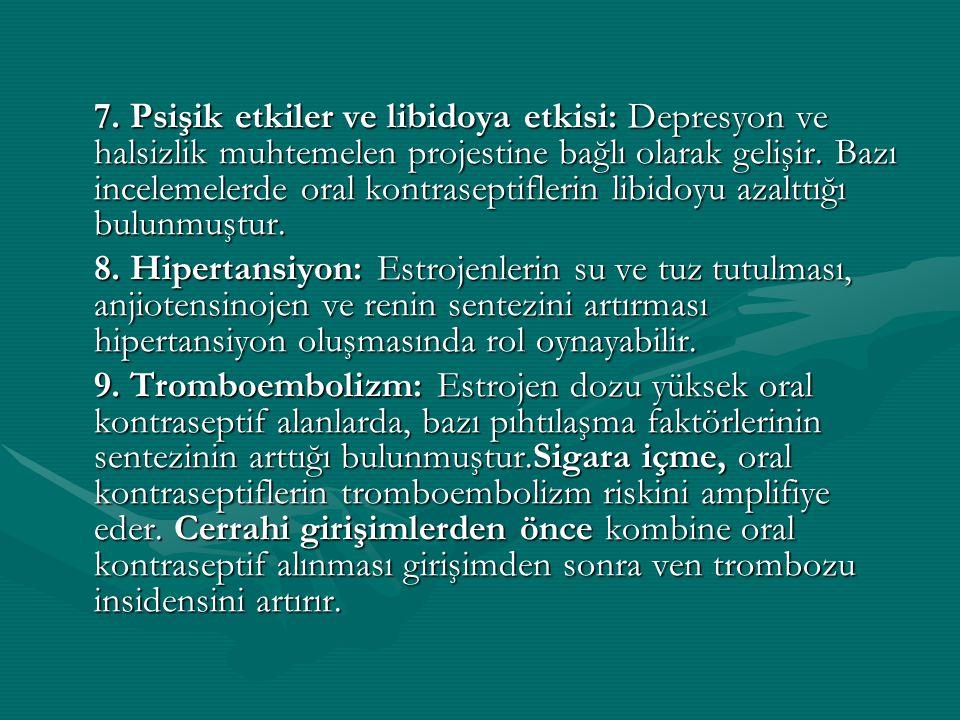 7. Psişik etkiler ve libidoya etkisi: Depresyon ve halsizlik muhtemelen projestine bağlı olarak gelişir. Bazı incelemelerde oral kontraseptiflerin libidoyu azalttığı bulunmuştur.