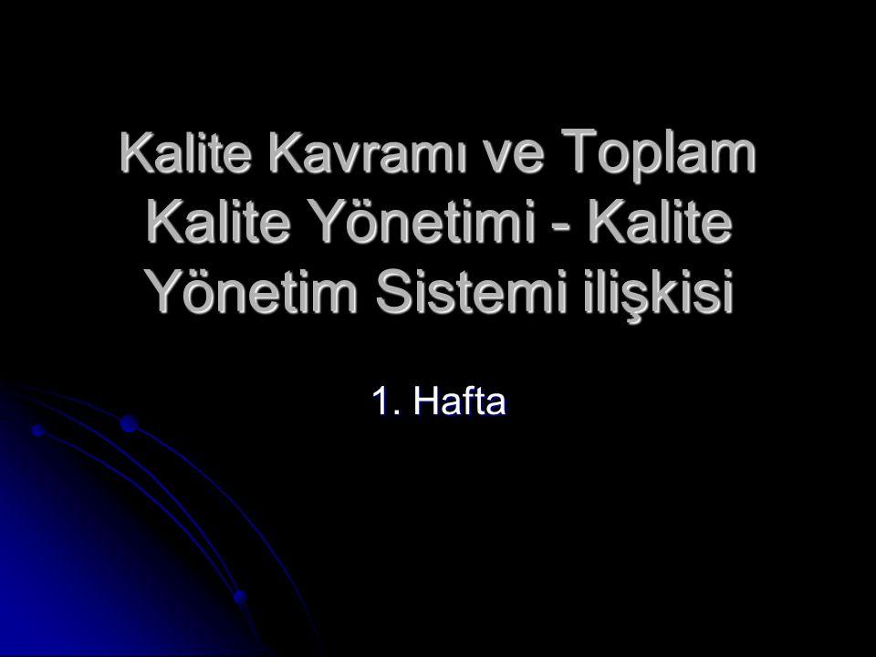 Kalite Kavramı ve Toplam Kalite Yönetimi - Kalite Yönetim Sistemi ilişkisi