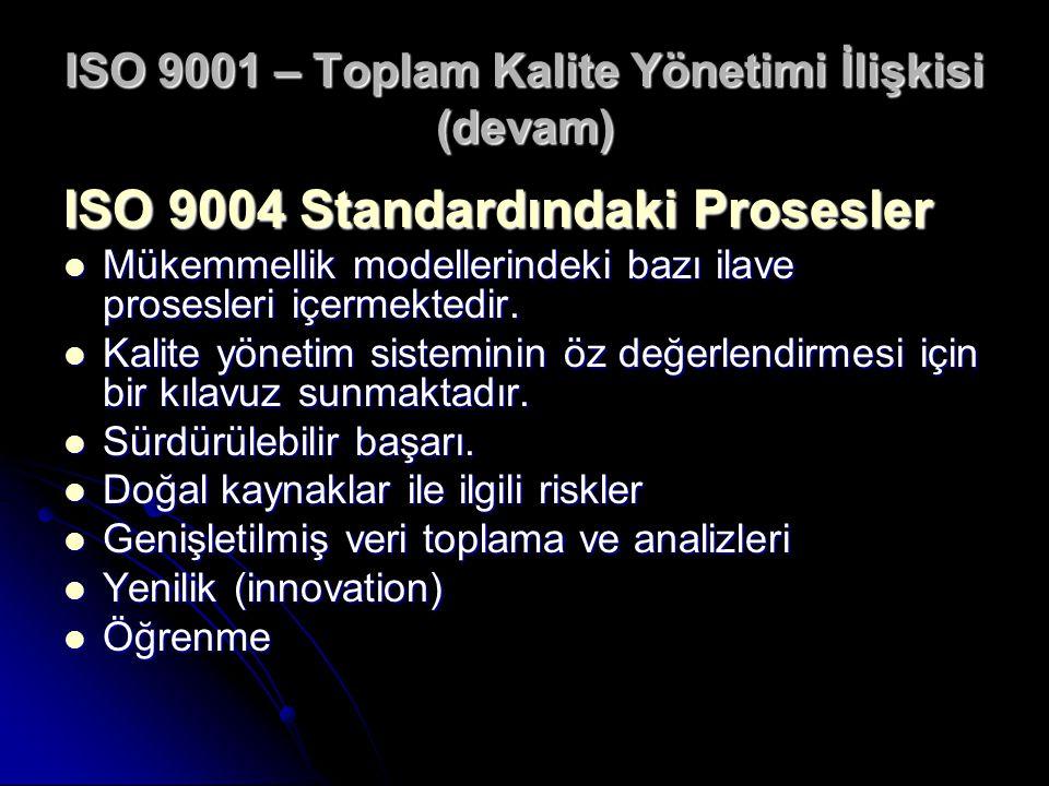 ISO 9001 – Toplam Kalite Yönetimi İlişkisi (devam)