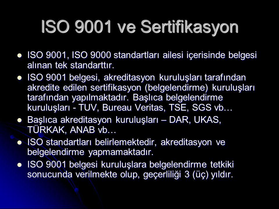 ISO 9001 ve Sertifikasyon ISO 9001, ISO 9000 standartları ailesi içerisinde belgesi alınan tek standarttır.