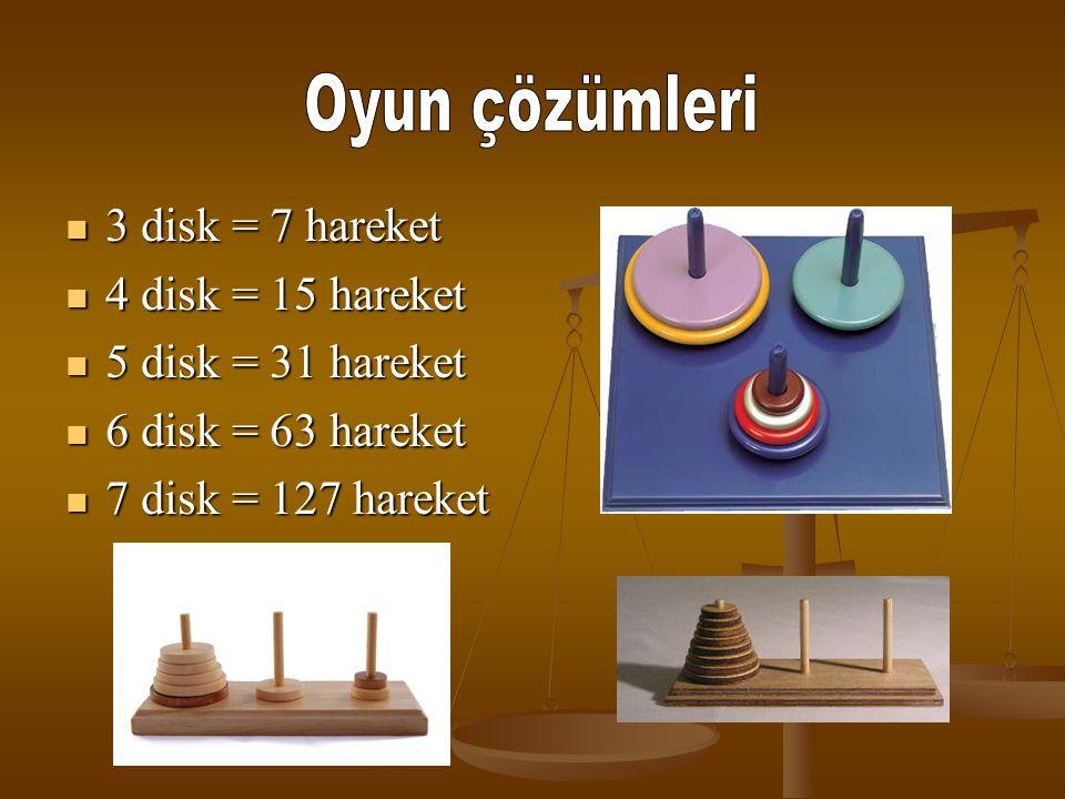 Oyun çözümleri 3 disk = 7 hareket 4 disk = 15 hareket