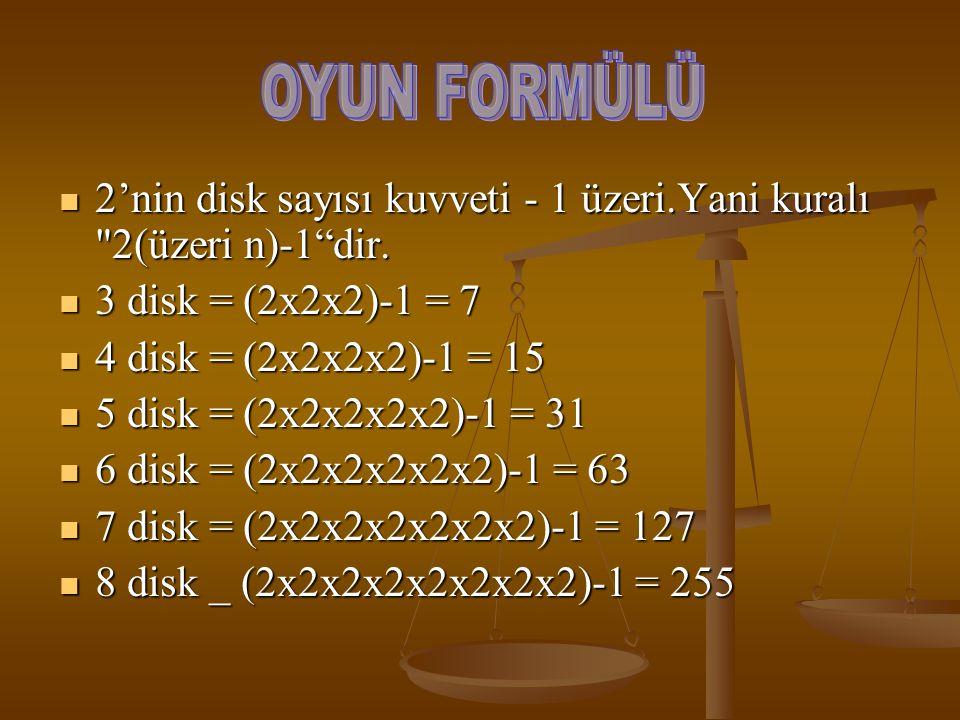 OYUN FORMÜLÜ 2'nin disk sayısı kuvveti - 1 üzeri.Yani kuralı 2(üzeri n)-1 dir. 3 disk = (2x2x2)-1 = 7.