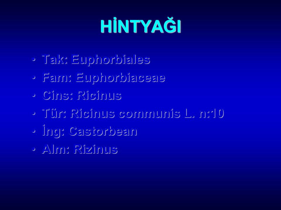 HİNTYAĞI Tak: Euphorbiales Fam: Euphorbiaceae Cins: Ricinus