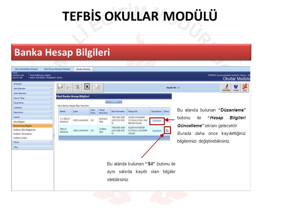 TEFBİS OKULLAR MODÜLÜ Banka Hesap Bilgileri