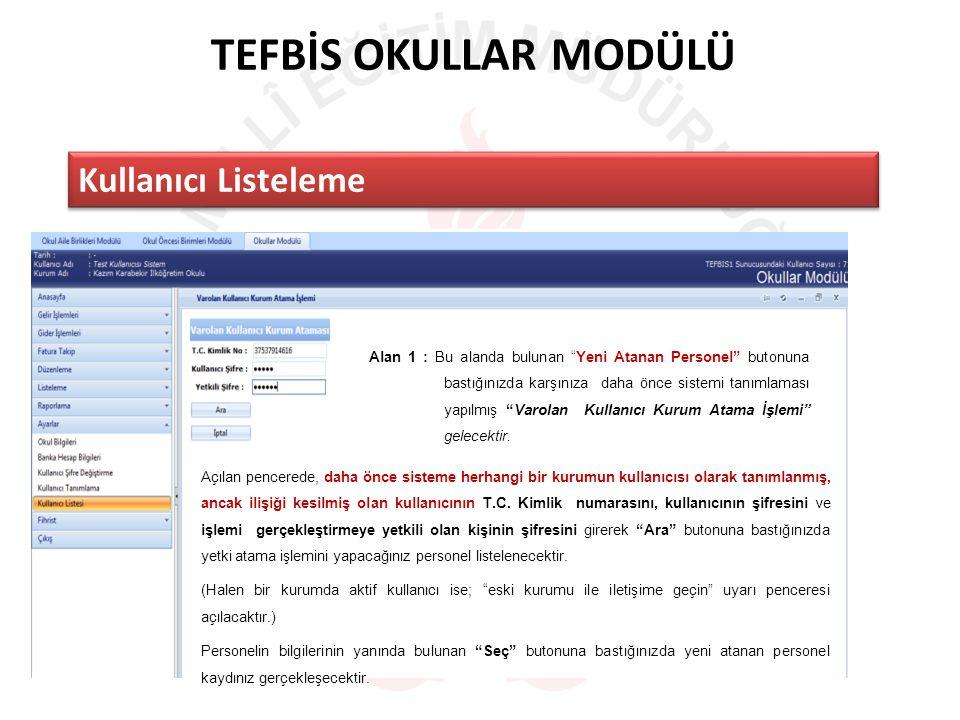 TEFBİS OKULLAR MODÜLÜ Kullanıcı Listeleme